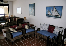 Secret Beach Boat Villa Playa del Carmen Vacation Home; the Great Room  has full wall to wall glass sliding doors with a view of Caribbean, makes you feel even if your inside that you are still outside right on the beach.